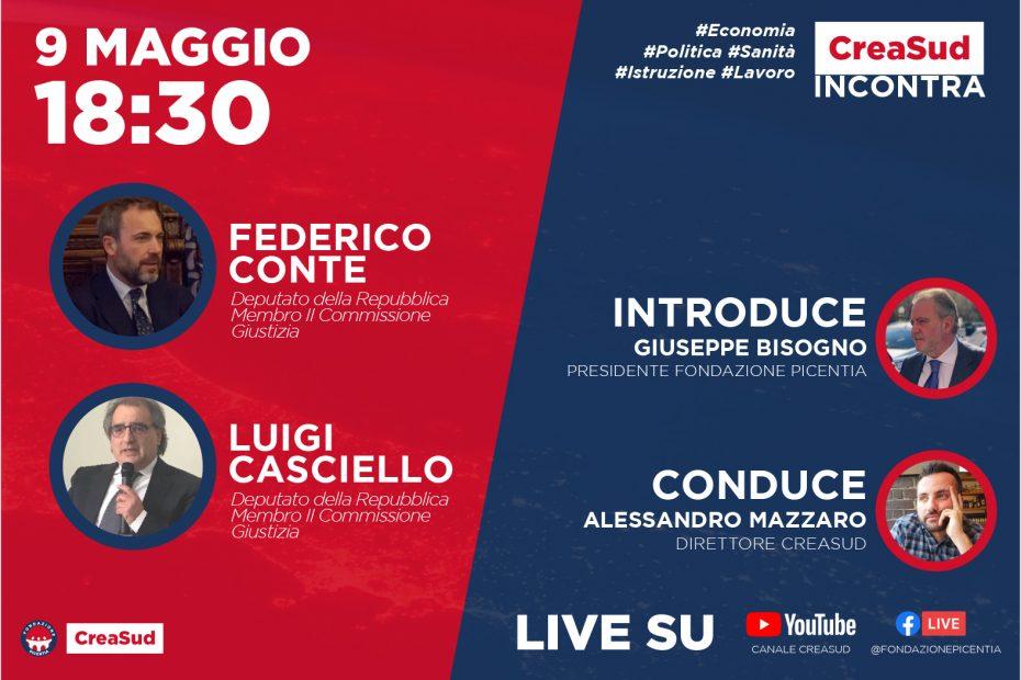 CreaSud Incontra - Federico Conte e Luigi Casciello, con Alessandro Mazzaro e Giuseppe Bisogno, presidente Fondazione Picentia