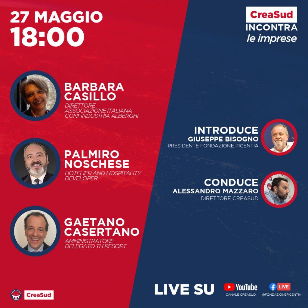 CreaSud Incontra - Barbara Casillo, Palmiro Noschese, Gaetano Casertano, con Alessandro Mazzaro e Giuseppe Bisogno, presidente Fondazione Picentia