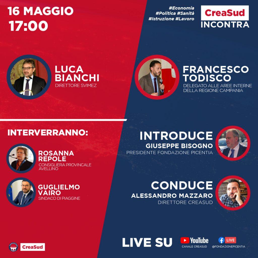 CreaSud Incontra - Luca Bianchi Svimez e Francesco Todisco, con Alessandro Mazzaro e Giuseppe Bisogno, presidente Fondazione Picentia